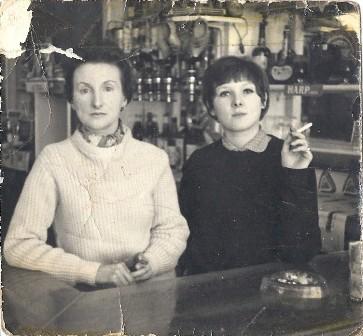 Joan Weegenaar & Anna Henderson - Radnor Hotel bar 1962.