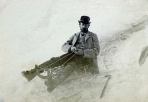 Photo: John Addington Symonds on a sledge at Davos