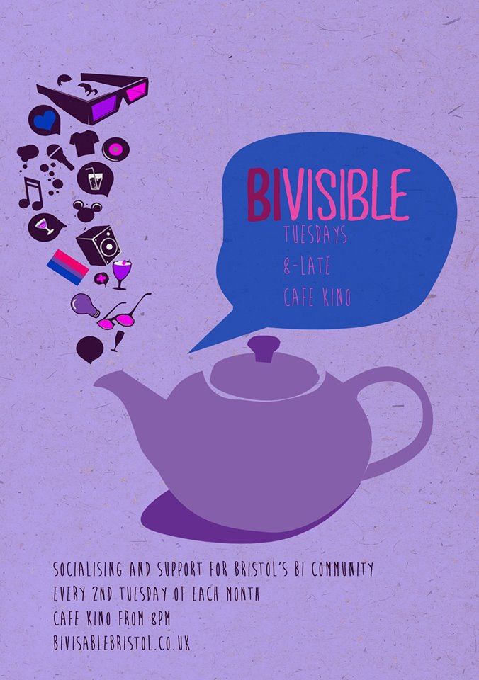 Purple teaport with party symbols coming out of its spout, light purple background, speech bubble with 'BiVisible'.