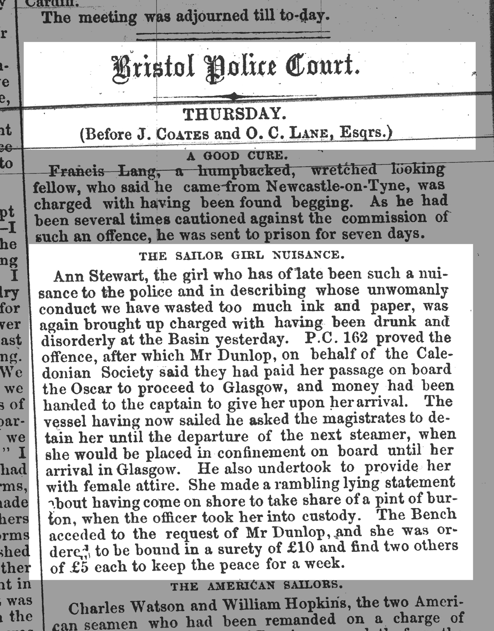Scanned copy of the original newspaper article - black and white slightly eroded serif-font typewriter style text, no pictures.