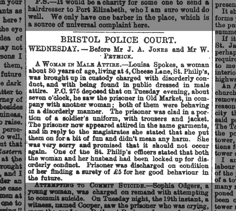 Scan of Western Daily Press article 28th December 1876 - A Woman in Male Attire