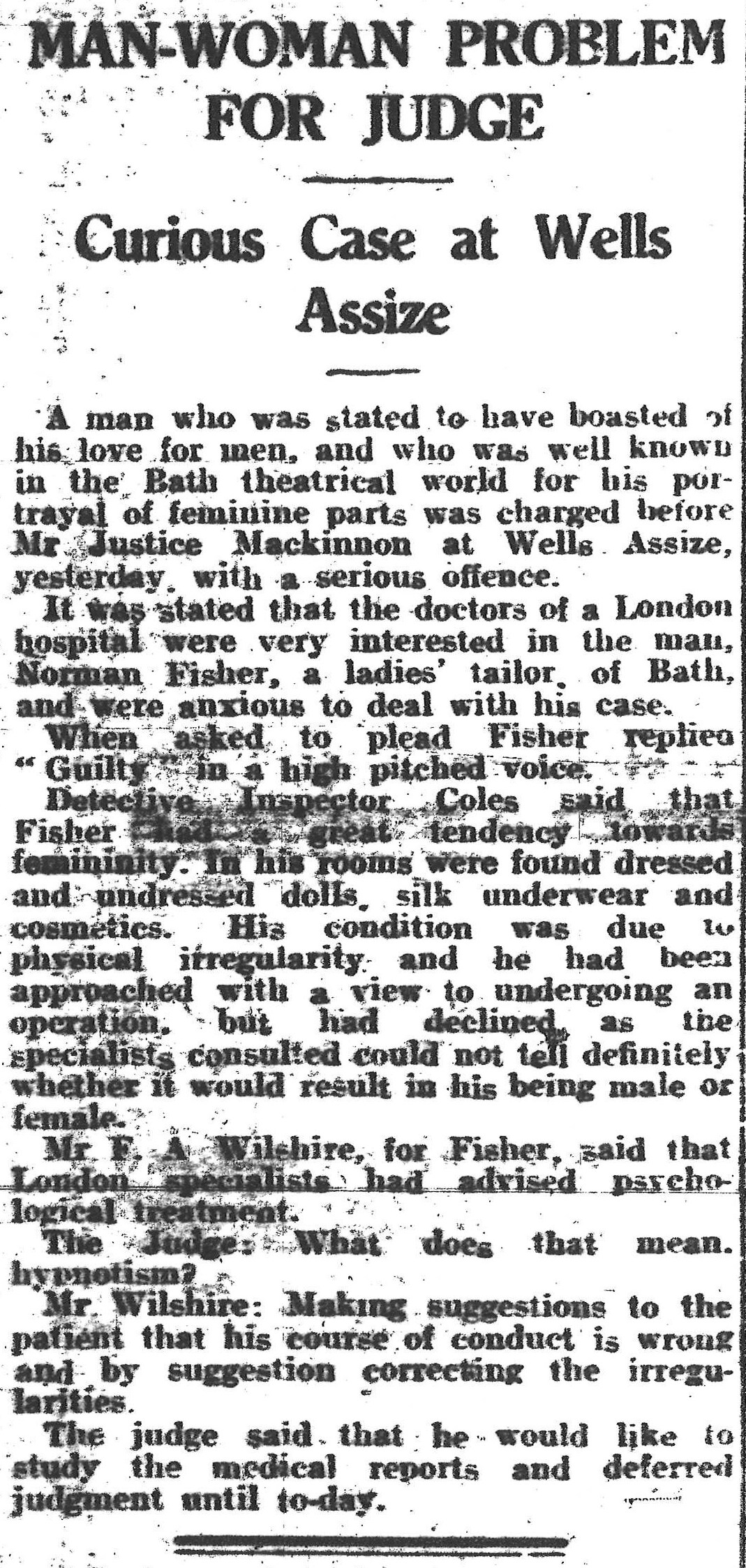 Newspaper cutting with title