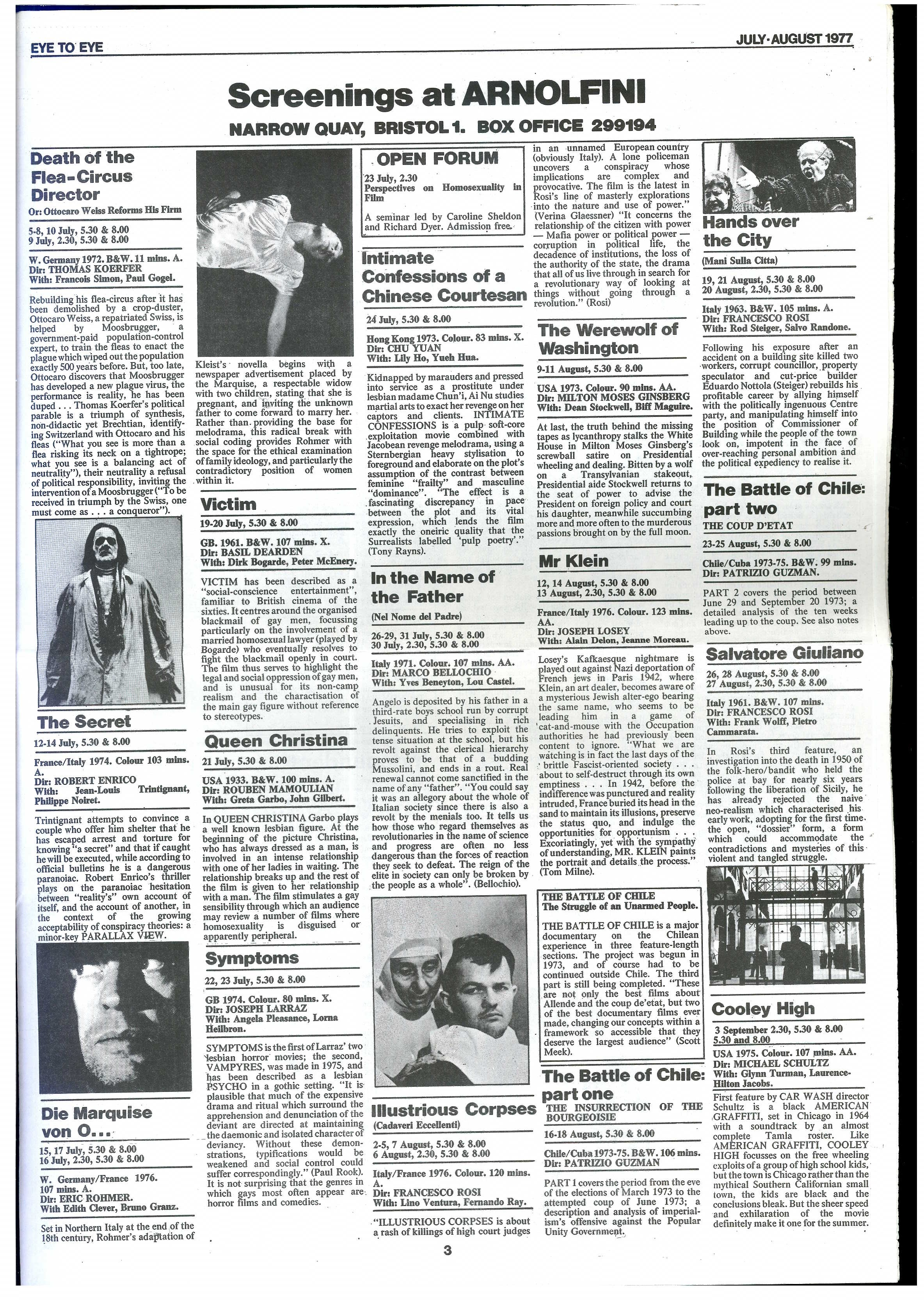Newspaper page from Eye to Eye, July - August 1979, showing film screenings at Arnolfini. Films included Dirk Bogarde in Victim (1961) and Greta Garbo in Queen Christina (1933).