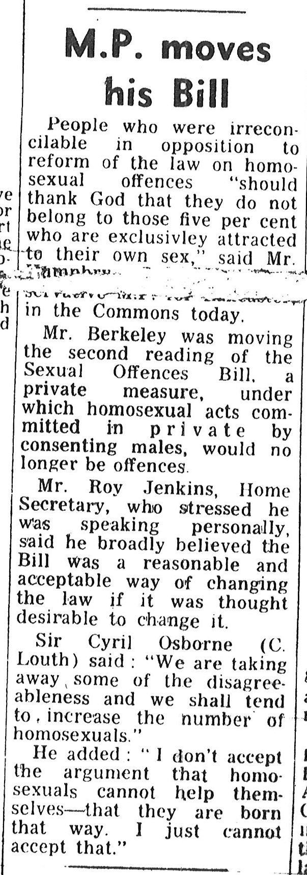 A newspaper extract about the Criminal Offences Bill 1967