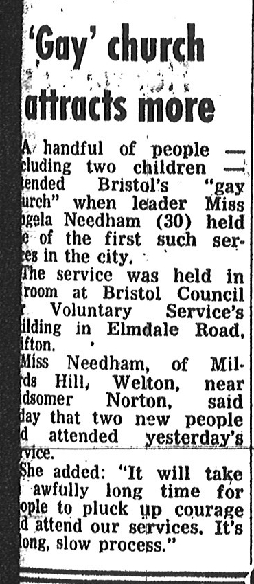 A newspaper extract about the Bristol Metropolitan Community Church