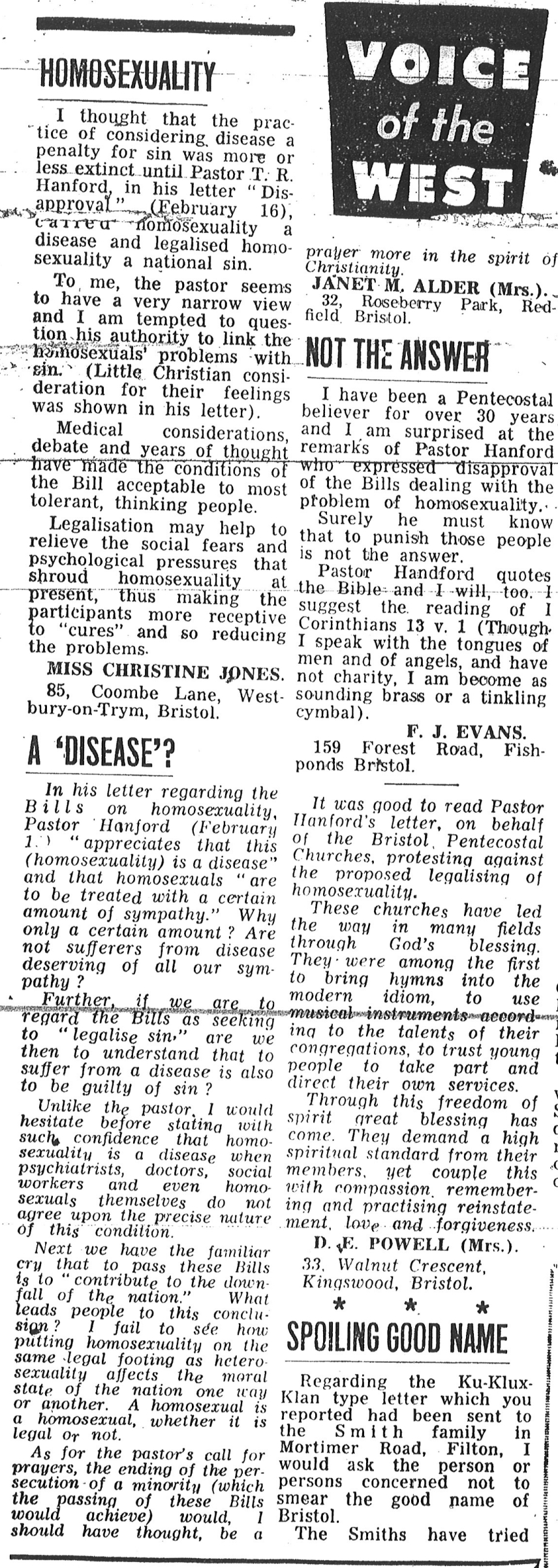 Some letters from readers of the Bristol Evning Post regarding the Criminal Offences Act 1967