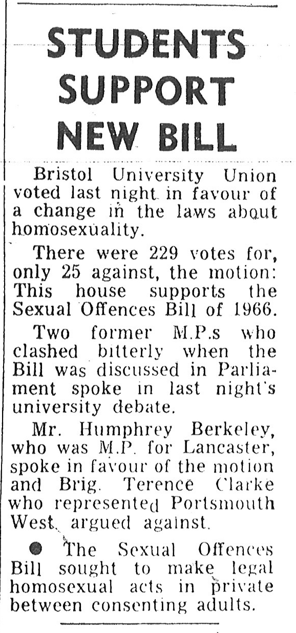 A newspaper cutting detailing a student debate on the Sexual Offences Bill of 1966