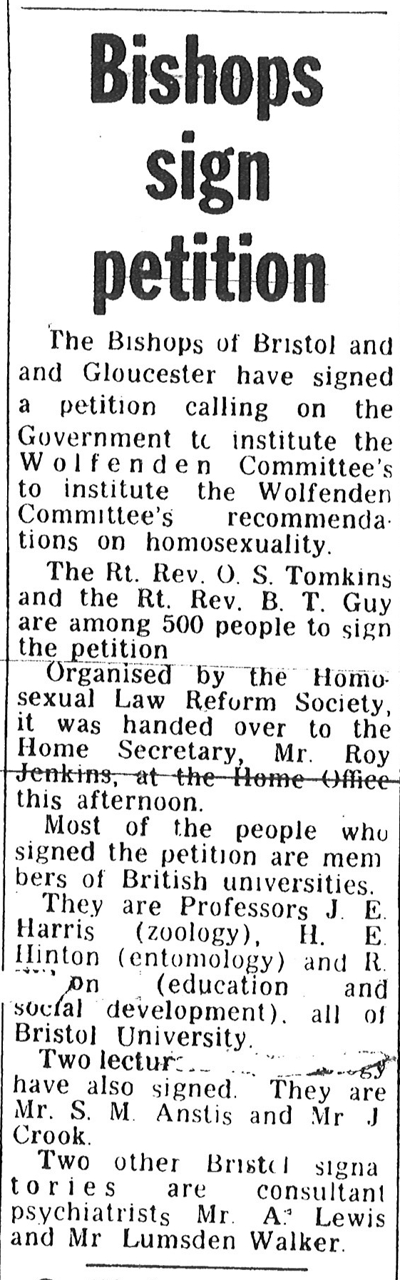 A newspaper extract about the Sexual Offences Bill of 1966.
