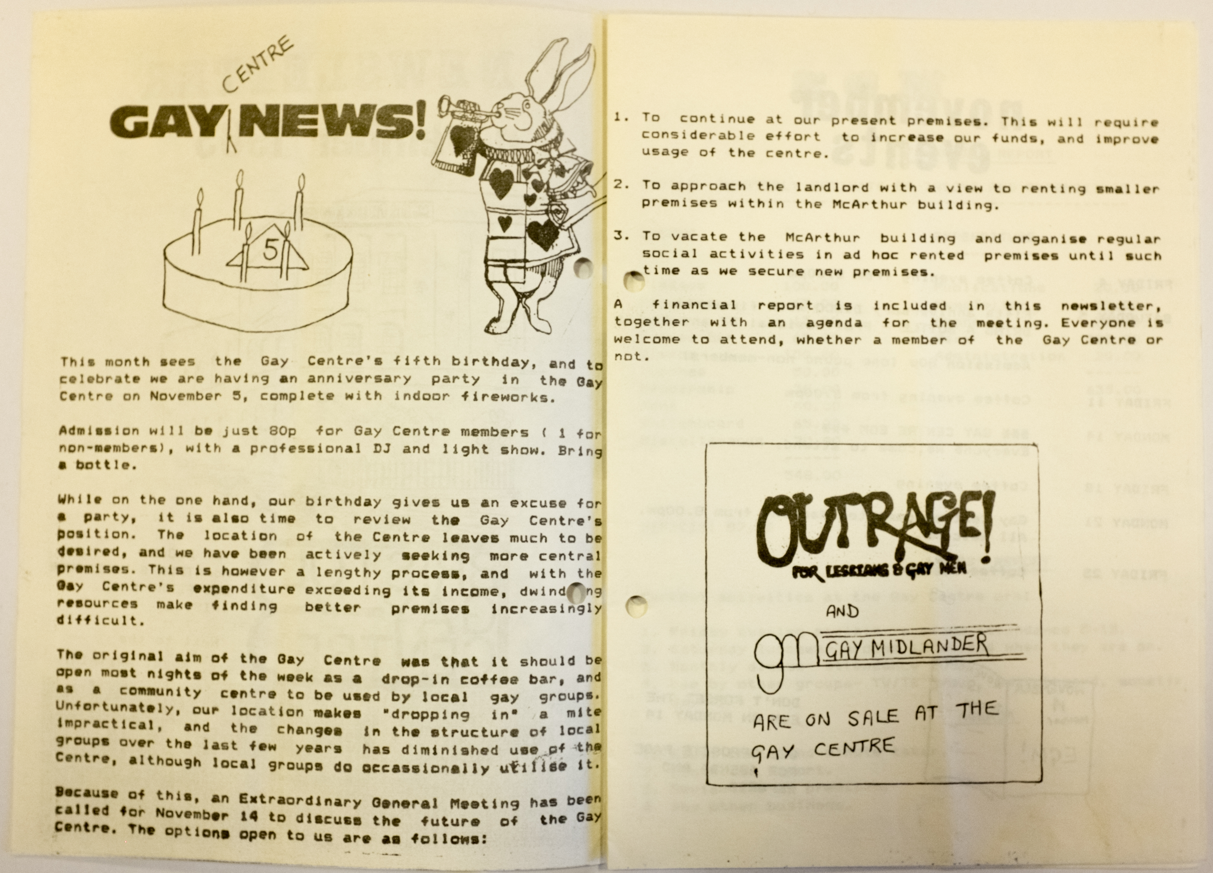 Line drawing of a rabbit blowing a trumpet next to a birthday cake. Text announces the centre's 5th birthday, highlights the inadequacy of the current Gay Centre venue and announces an Extraordinary General Meeting to discuss options for moving the centre.