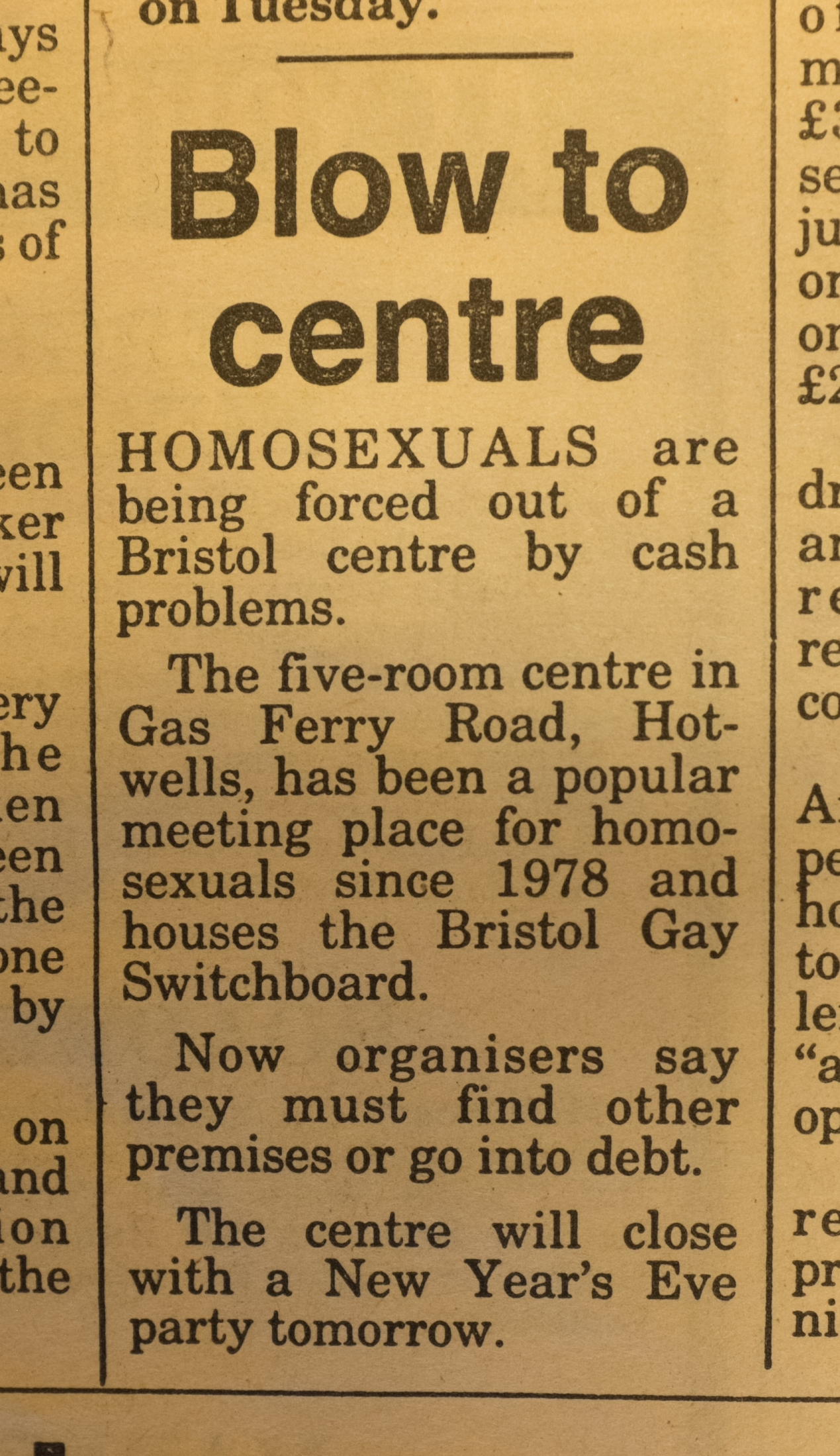 Newspaper clipping about closure of the Centre