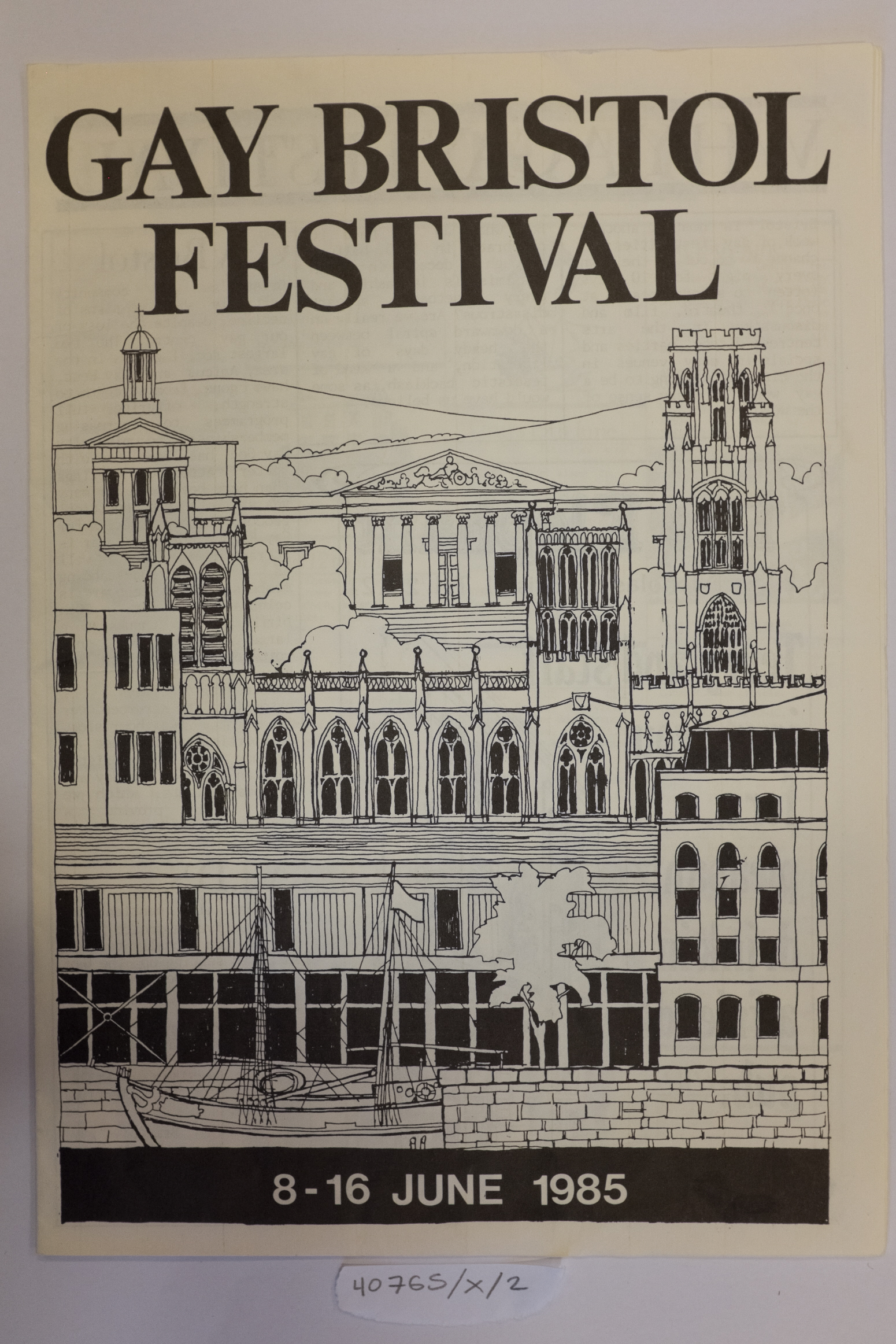 The front page of the program for Gay Bristol festival 1985, featuring a line drawing of several Bristol landmarks
