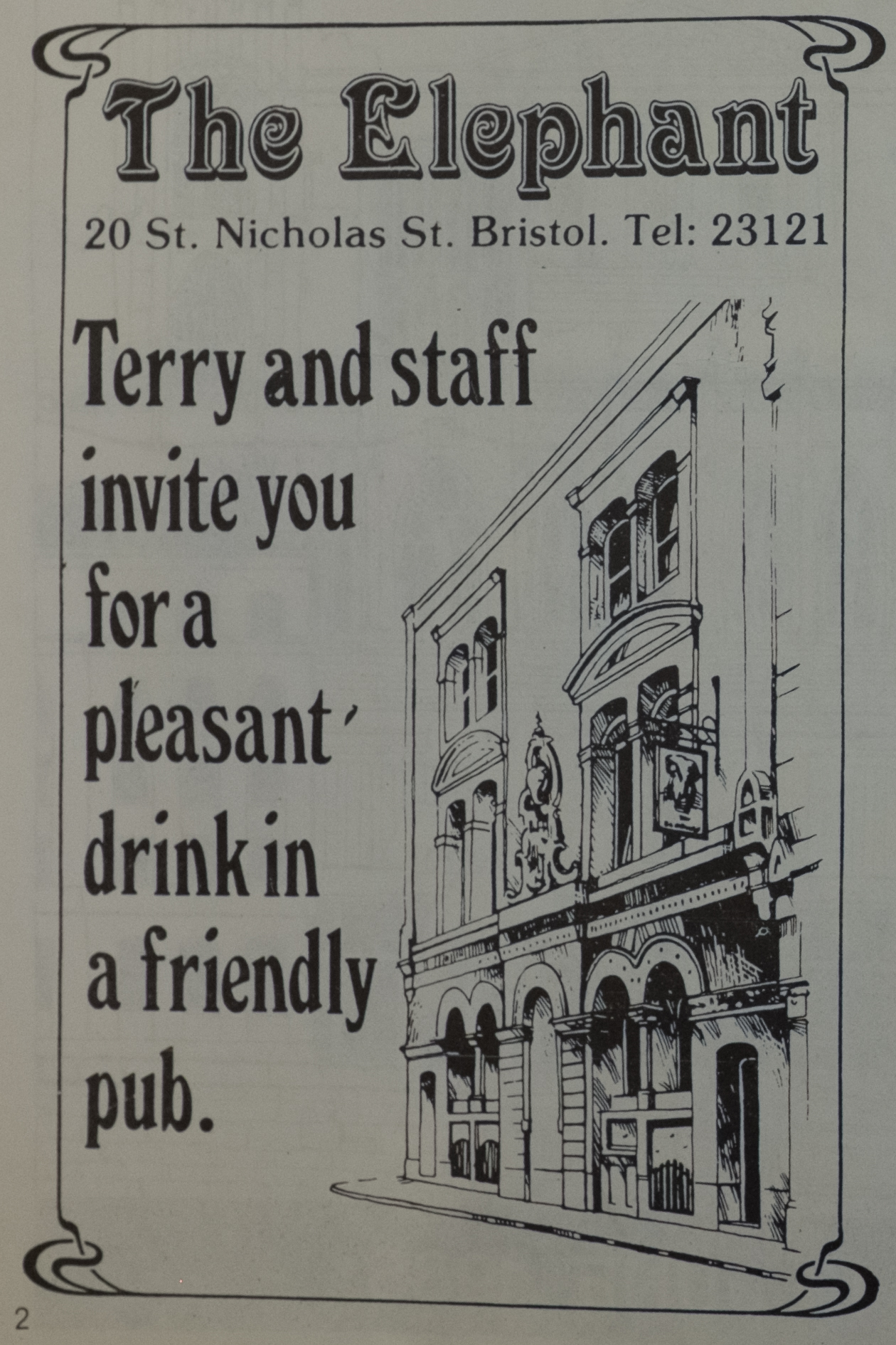 An advert for the Elephant from a pamphlet for the Bristol Gay Festival, 1985