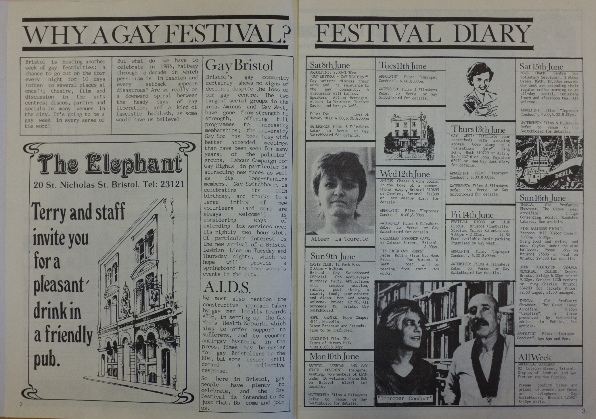 The inside of the Gay Bristol 1985 program, featuring a list of events and film screenings