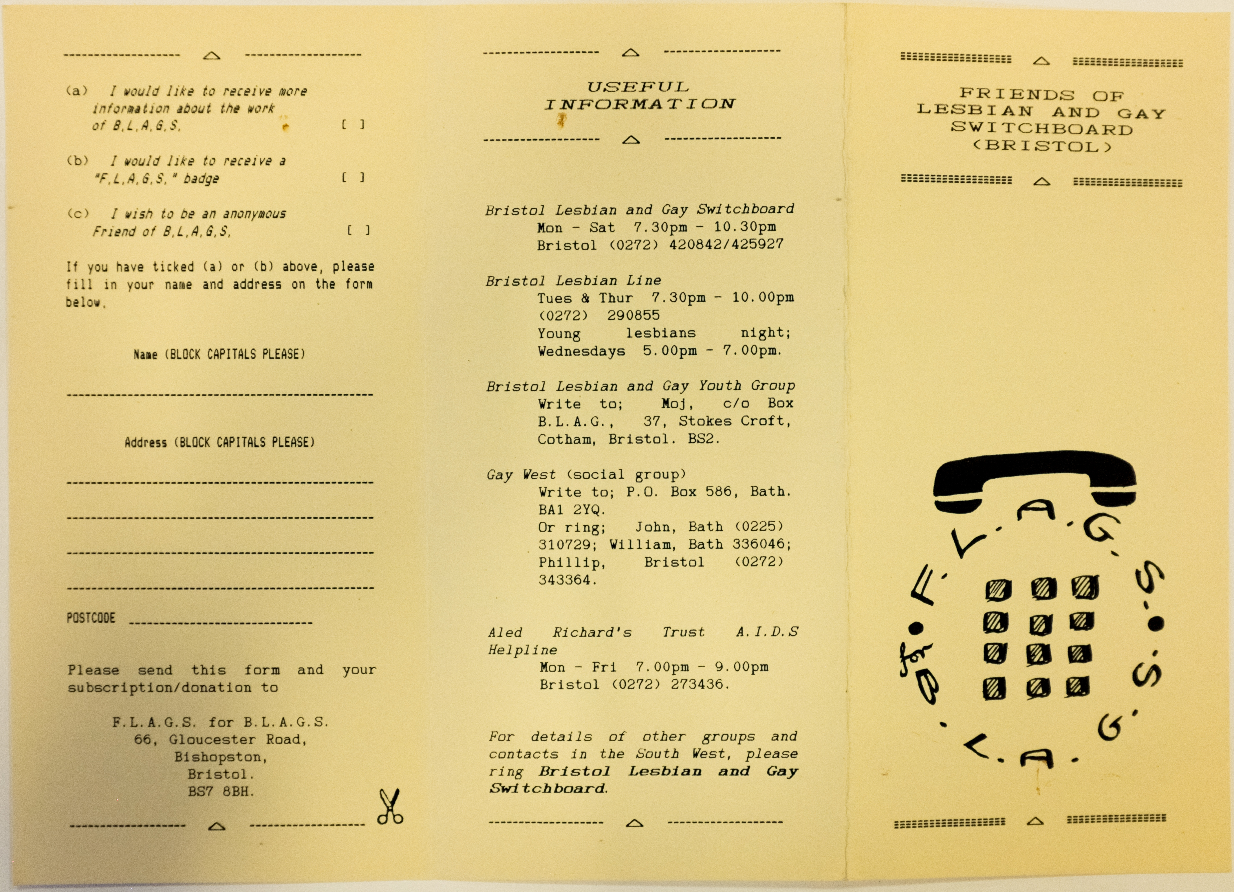 A4 black and white leaflet, designed to be folded in three. Includes logo incorporating telephone keyboard and receiver.