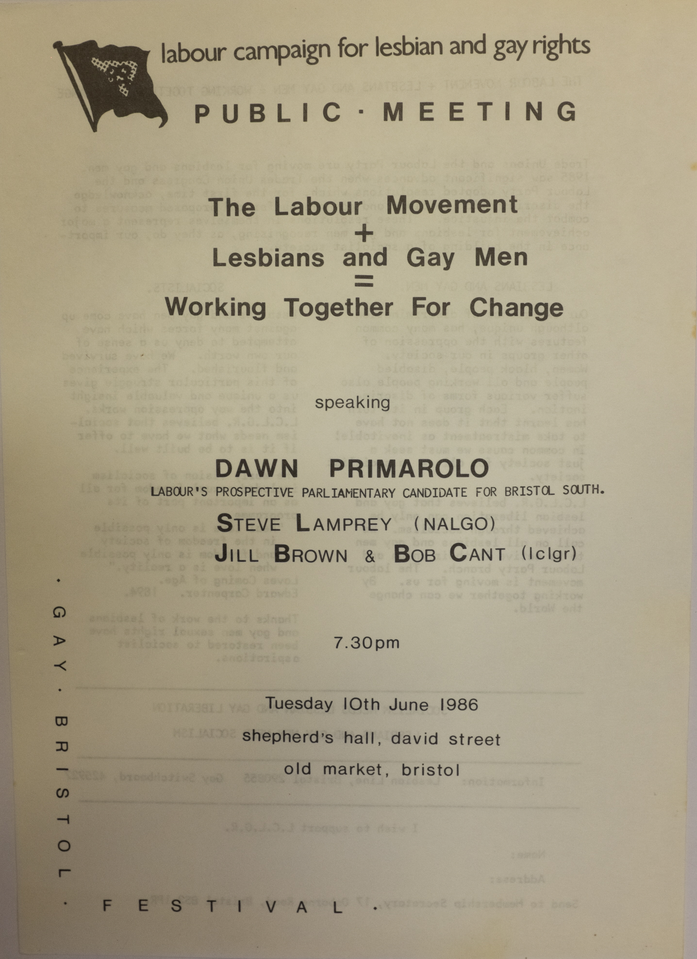The front of a leaflet advertising a public meeting for the Labour Campaign for Lesbian and Gay Rights