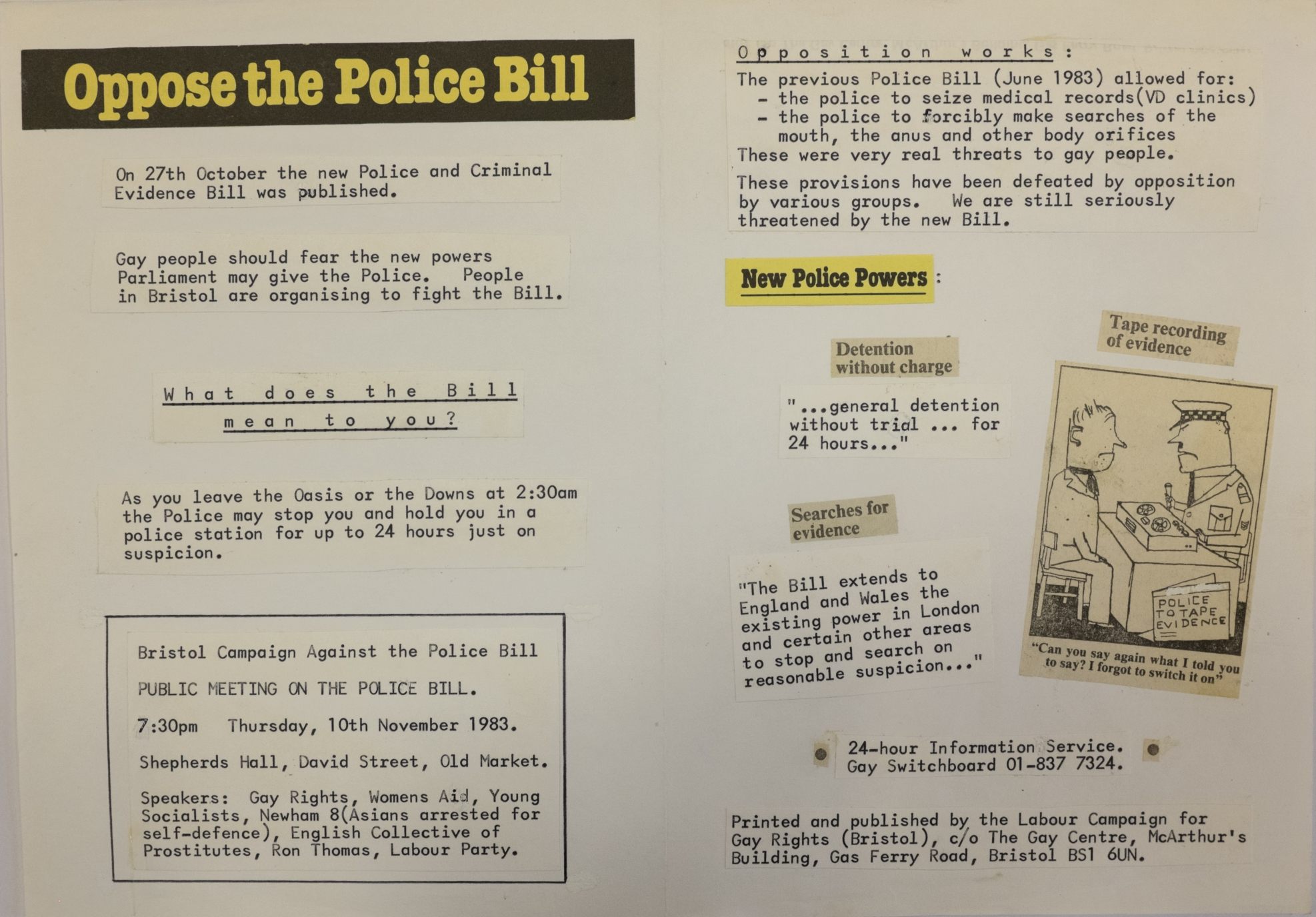 A mock-up of a flyer with the header 'Oppose the Police Bill'.