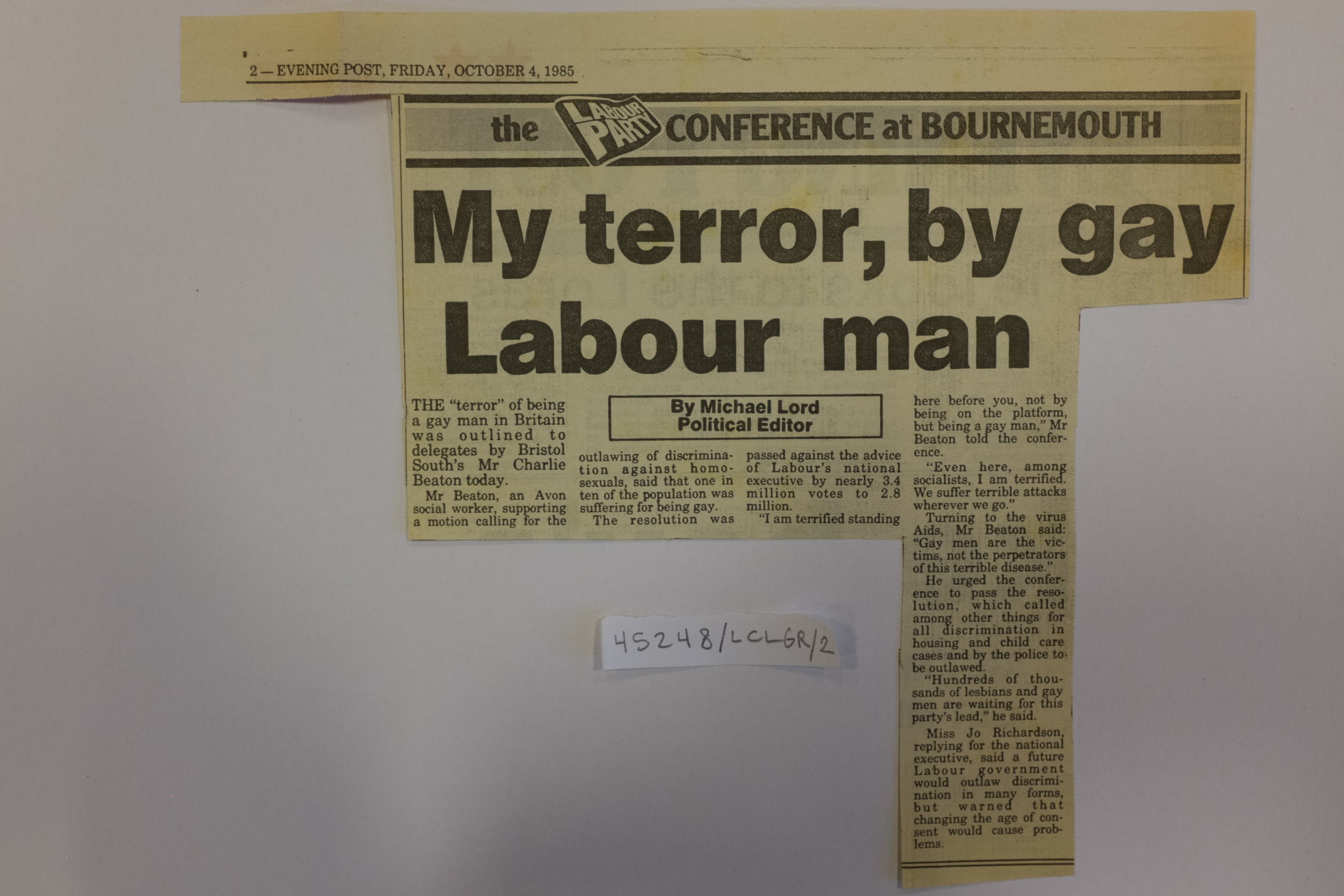 A newspaper article with heading My terror, by gay Labour man
