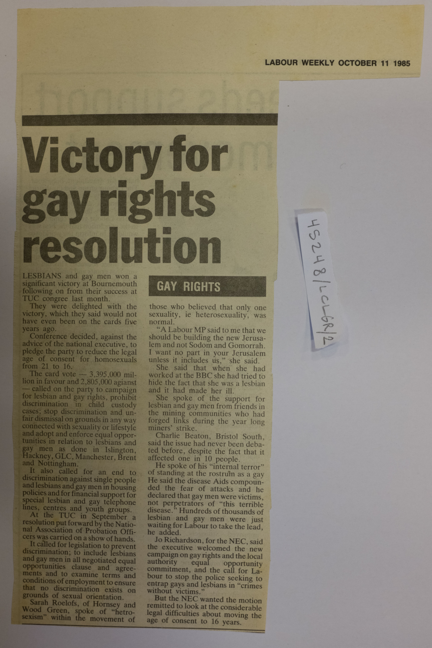 A newspaper clipping noting the success of gay campaigners, including Charlie Beaton, in getting Labour to pass an equality resolution