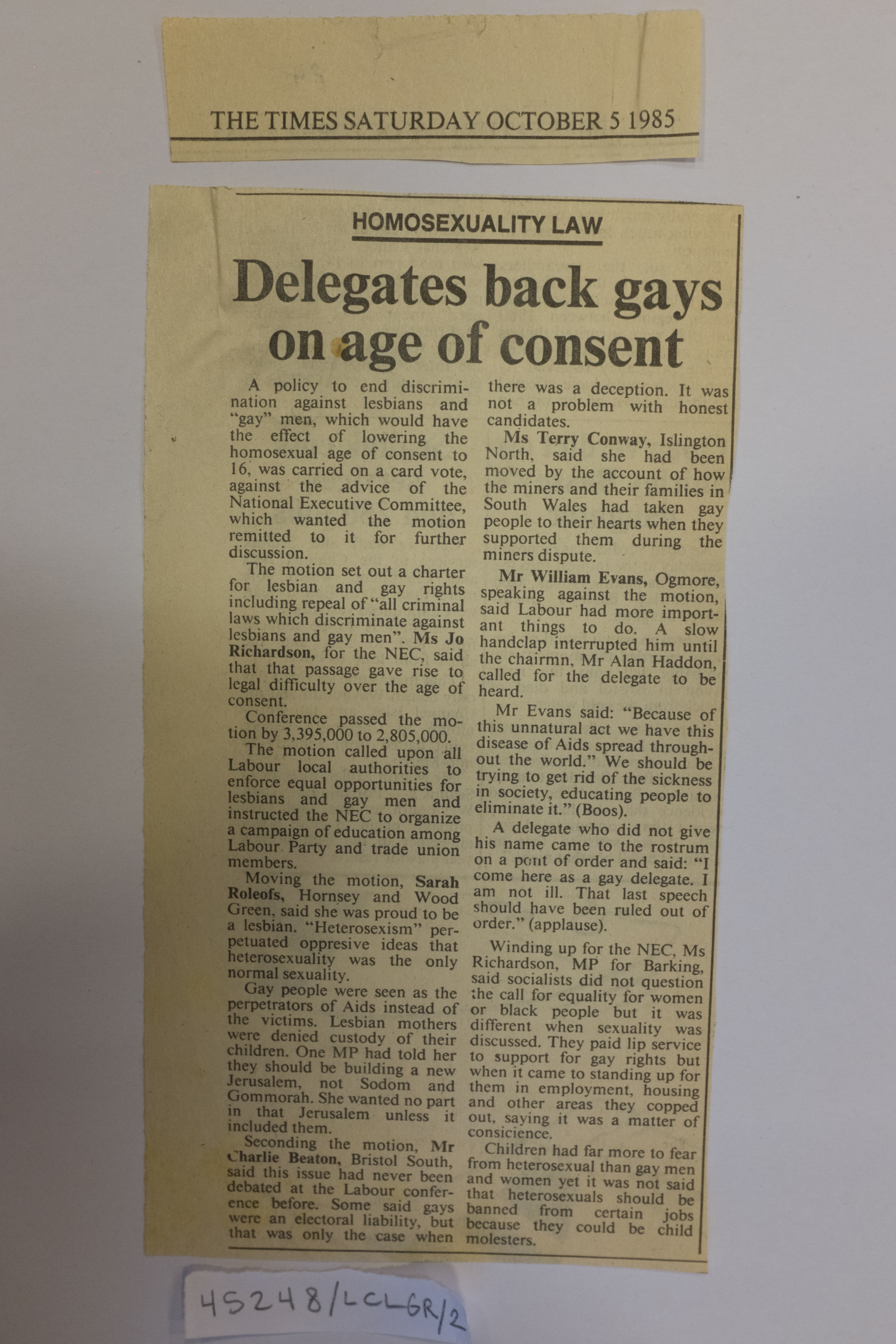 An newspaper clipping headed 'Delegates back gays on age of consent'