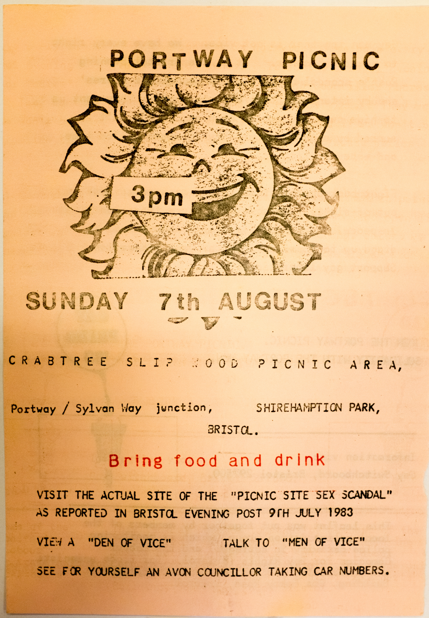 The front page of a flyer for a picnic at Shirehampton Park in Bristol.