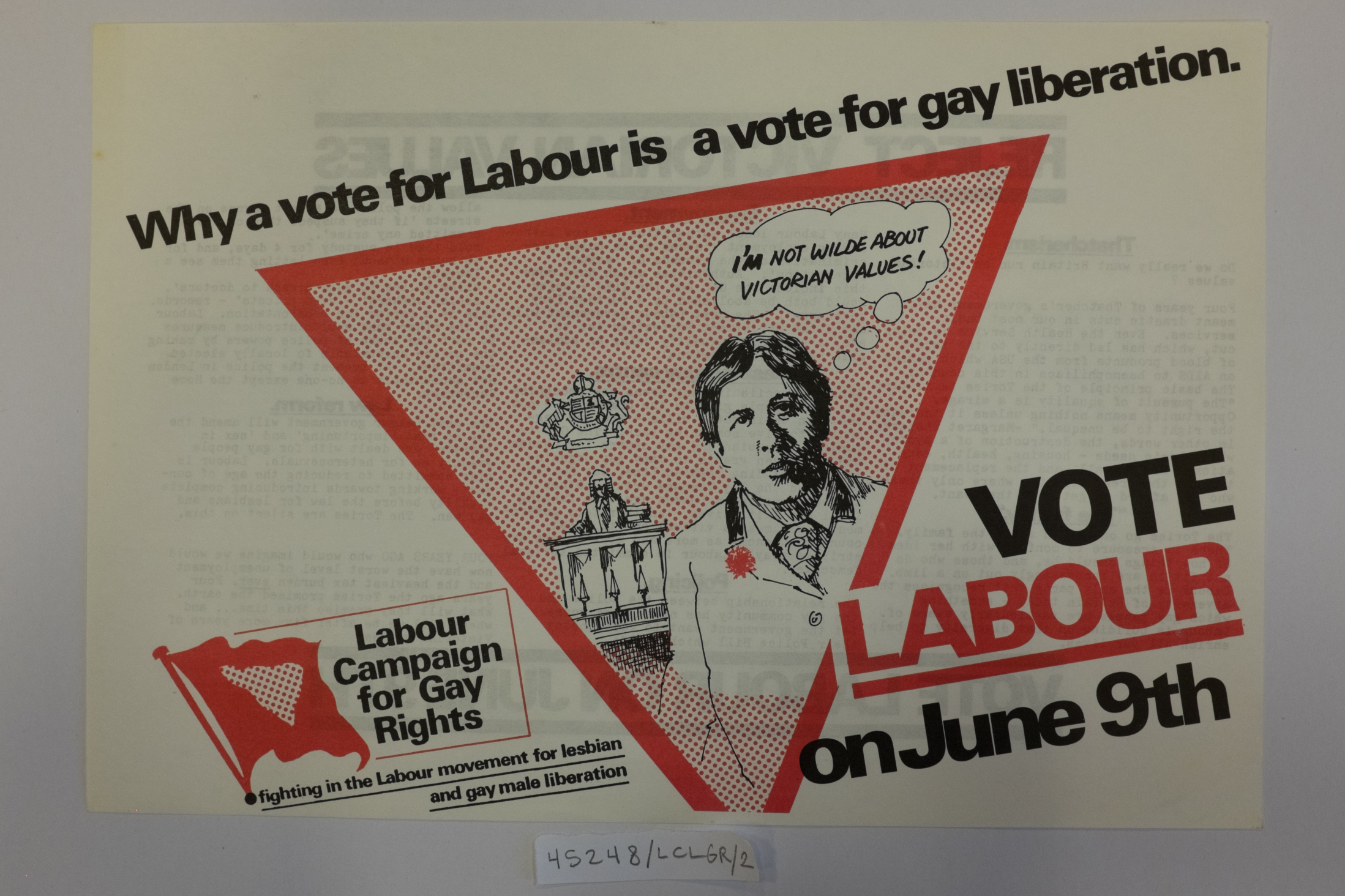 "A campaign advert for the Labour Party's Campaign for Gay Rights featuring Oscar Wilde: ""I'm not Wilde about Victorian Values!"""