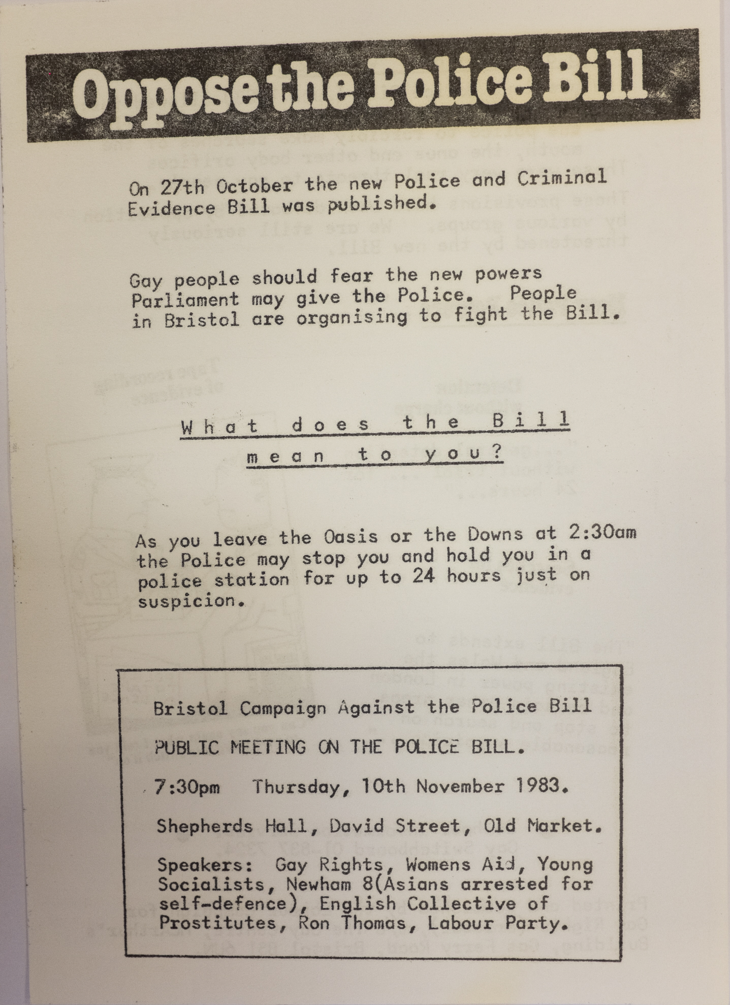 The front of a flyer with the heading 'Oppose the Police Bill'.