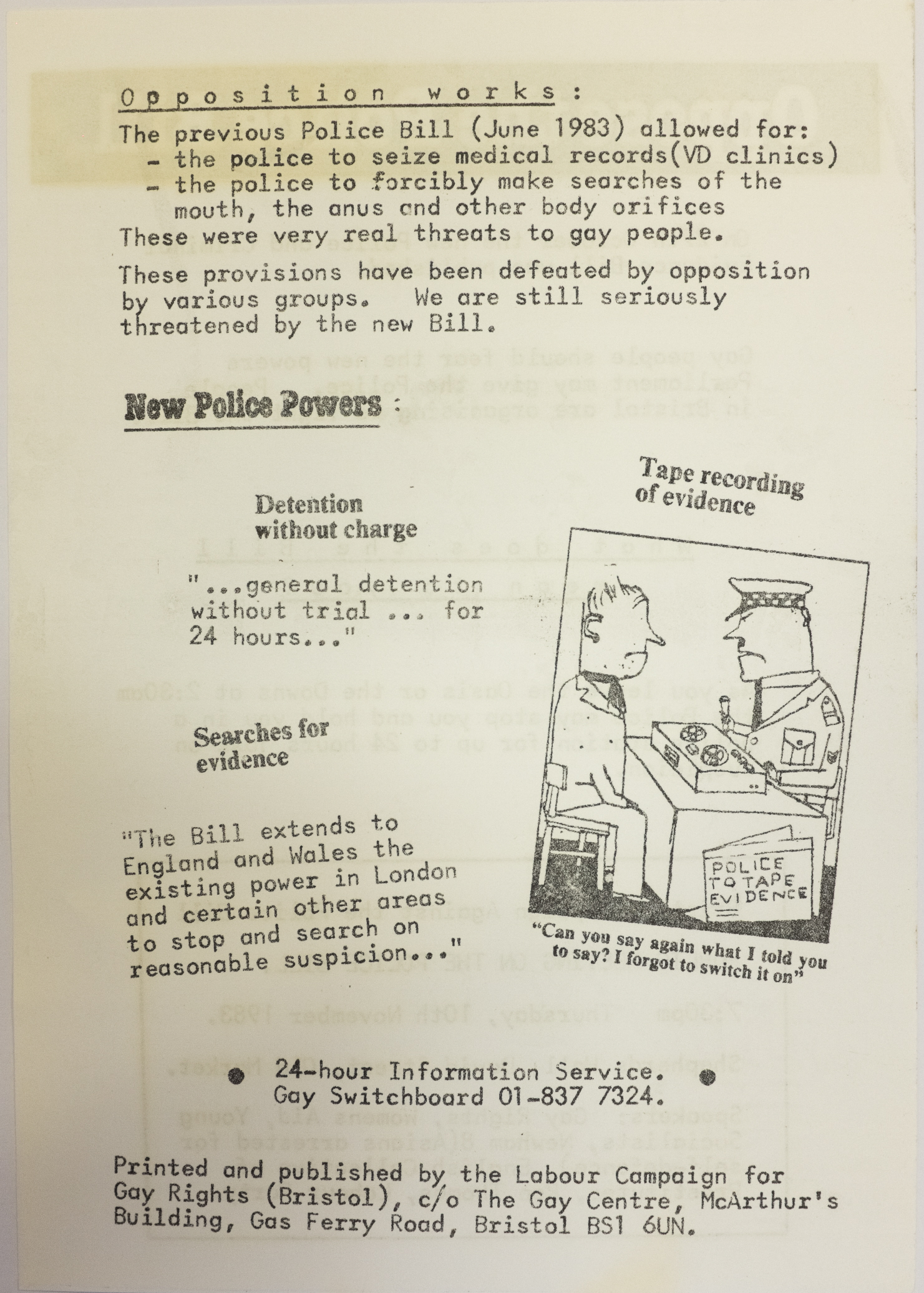 The reverse of a flyer with the heading 'Oppose the Police Bill'.