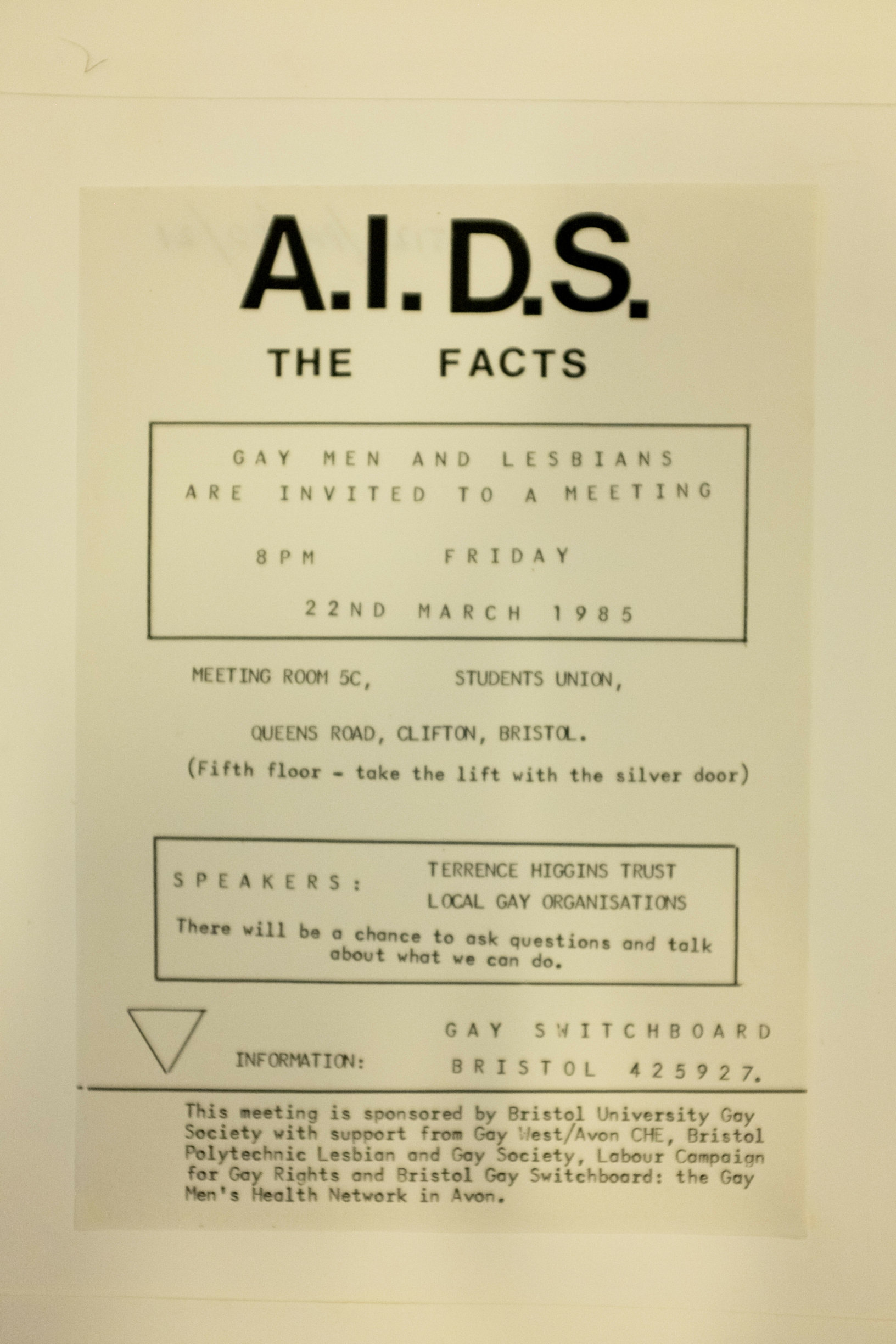 A flyer for an information session about AIDS at the University of Bristol Student Union