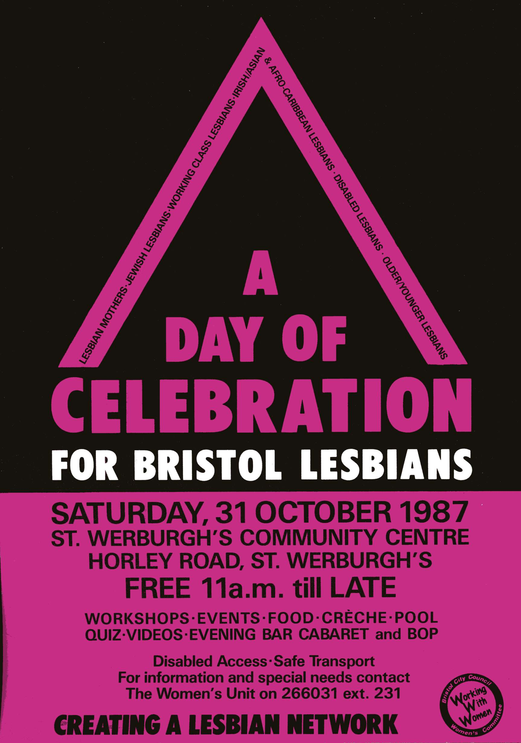 A bright purple and black flier with a triangular motif and text describing the Day of Celebration event.
