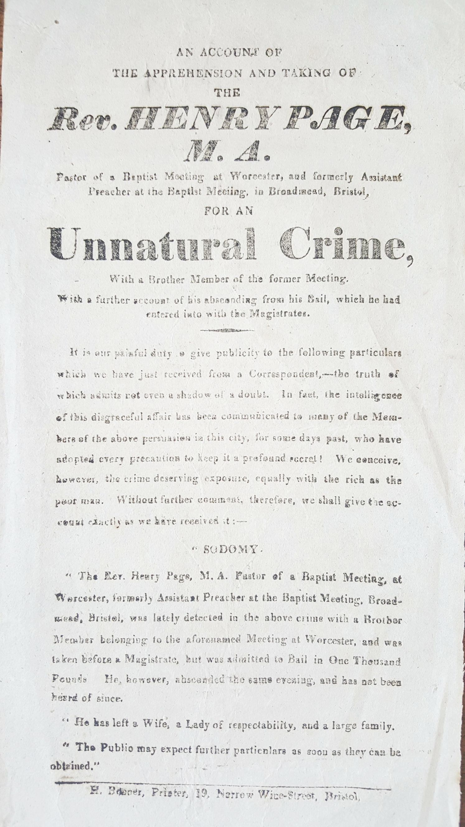 A broadsheet from Bristol, detailing an 'Unnatural Crime' by a Baptist minister