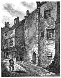 Engraving of small 3-storey stone building with one door and three tiny barred windows, on narrow cobbled lane