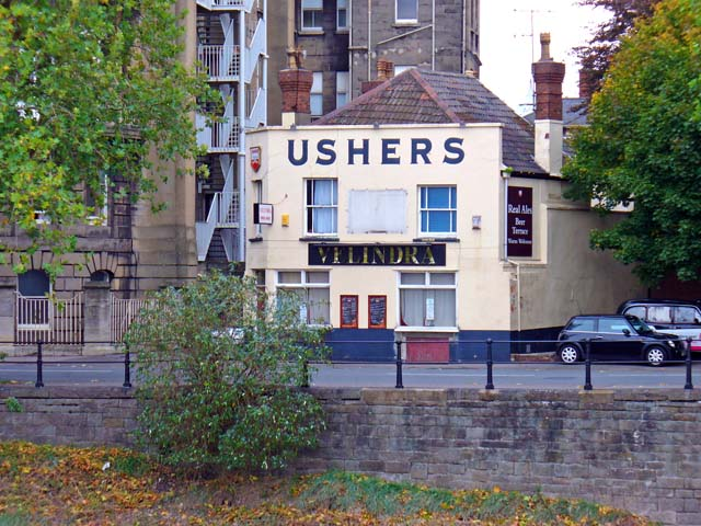 Outside of Velindra pub in 2005, walls painted cream with Ushers in very large letters just below roof parapet
