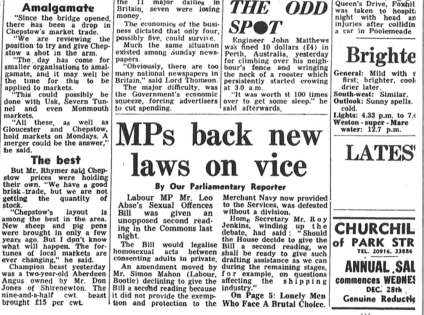 A newspaper article on the Sexual Offences Bill of 1967
