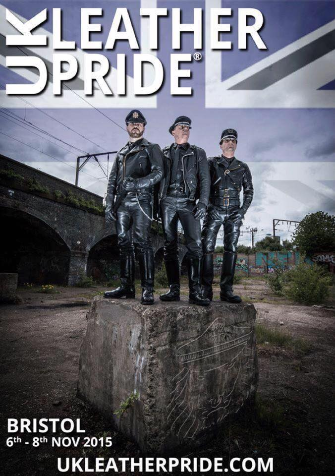 Poster showing three leather-clad men in a dark landscape with Union Jack motif.