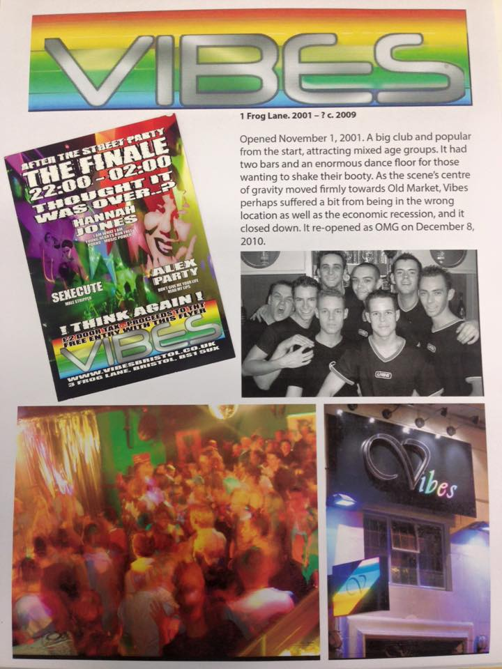Flyer for Vibes. Also photos of a crowded dance floor, a group of eight smiling men in T-shirts, and the 'Vibes' sign outside the building.