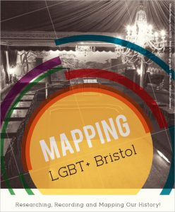 "Image from flyer showing orange circle with text ""Mapping LGBT+ Bristol"" superimposed over black and white 1970s photo of inside of Moulin Rouge club in Bristol."