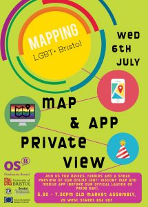 Mapping LGBT+ Bristol logo with textMap and app private view - Wednesday 6th July