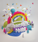 Bristol Pride logo with suspension bridge, SS Gt Britain and balloons inside a rainbow