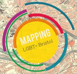 'Mapping LGBT+ Bristol' logo superimposed on a old street map of central Bristol