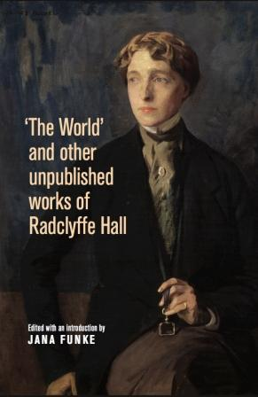 Bookcover with portrait of Radcliffe Hall with cropped hair and wearing a high-collar shirt and black evening jacket