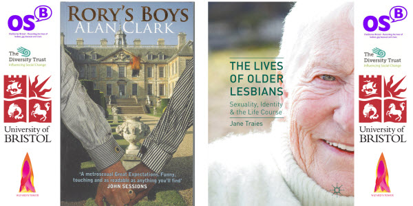 "Bookcovers of ""Rory's Boys"" by Alan Clark and ""The Lives of Older Lesbians"" by Jane Traies, plus sponsor's logos"