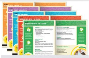 Five coloured cards, cascaded, each printed with a lesson plan