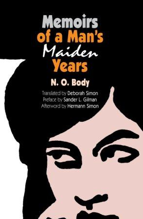 "Brush-line drawing of a young androgynous face with text ""Memoirs of a Man's Maiden Years"""