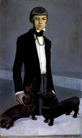 1920s painting of woman with cropped hair wearing a dinner jacket and trousers, with two dogs