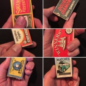 Six images of matchboxes held by a hand