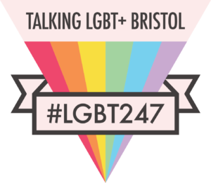 "Inverted rainbow-coloured triangle with text ""Talking LGBT+ Bristol"""