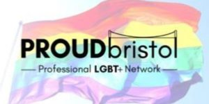 "Logo comprising text ""Proud Bristol"" superimposed over a rainbow flag"