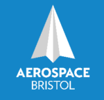 "Delta wing pointing upwards and text ""Aerospace Bristol"""
