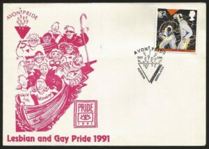Postal envelope with artwork showing 12 exuberant smiling people crammed in a small boat.