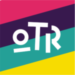 """OTR"" on magenta, purple, turquoise and yellow stripes"